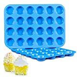 Silicone Muffin Pan, Mini 24-Cup Cupcake Pans, 2-Pack European LFGB Silicone Baking Molds