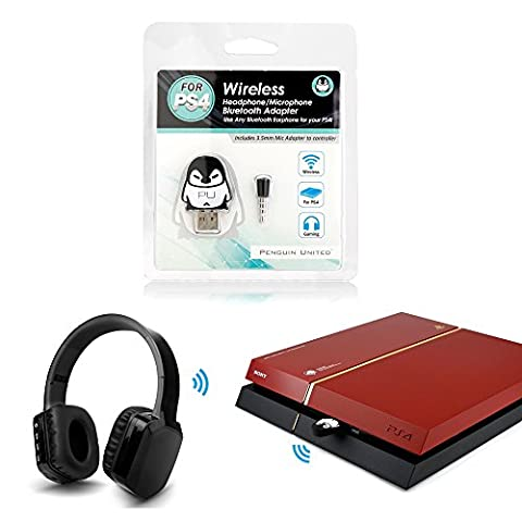 Penguin United Bluetooth Wireless Gaming Headphone Adapter with Mic for Sony PS4 (Htc Av Cable)