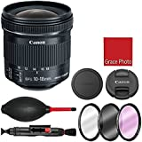 Canon EF-S 10-18mm f/4.5-5.6 IS STM Lens with 3 piece filter kit (UV, CPL, FLD), Rubber air dust blower, Lens cleaning pen