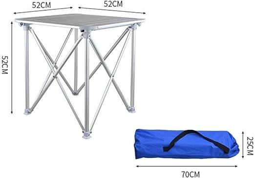 Juego con Bolsa de Transporte 2 Piezas Plegable de Aluminio de Alta Resistencia Mesa de Camping Mesa Plegable de Aluminio, Peso Ligero al Aire Libre (Color : Plata, tamaño : 52 * 52 * 52cm): Amazon.es: Jardín