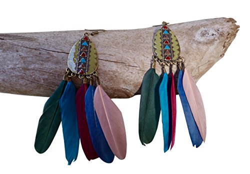 Nickle Accents - Feather Earrings with Triangle Accents | Nickle Free, Lead Free (Rainbow)