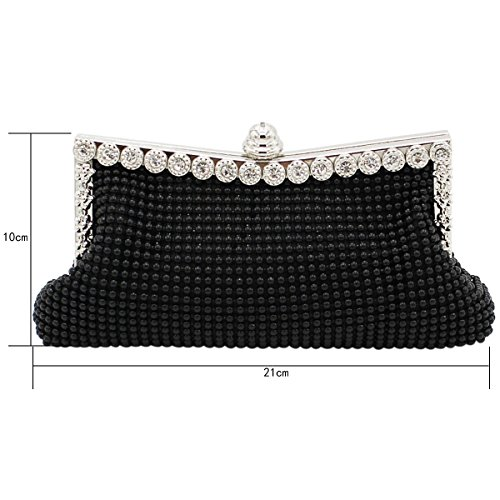 Sasairy - Cartera de mano para mujer plateado plata Länge x Höhe: 21x10cm negro