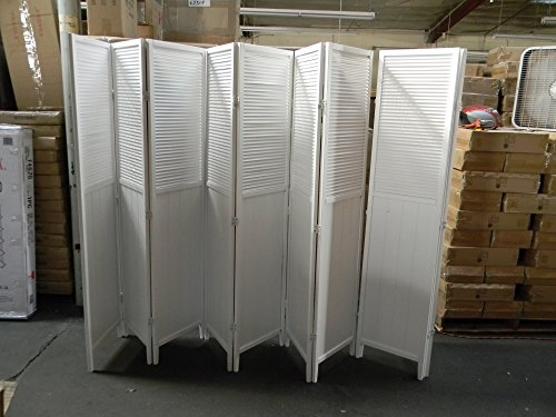 Wood Shutter Door 8-Panel Room Divider, WHITE by SQUARE FURNITURE
