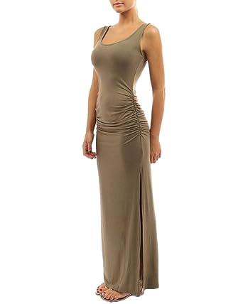 f906b221f6c Maxi Robe Longue Fendue Simple sans Manche Extensible Moulante Robes Femmes  Abricoté S