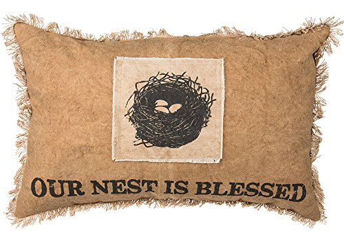 Primitives by Kathy Cotton Nest is Blessed Throw Pillow, 19 x 12-Inch, Our