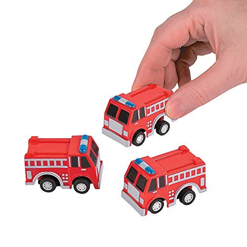 Fun Express Fire Truck Firetruck Engine Pullbacks Toy - 12 (Truck Birthday Party Favors)