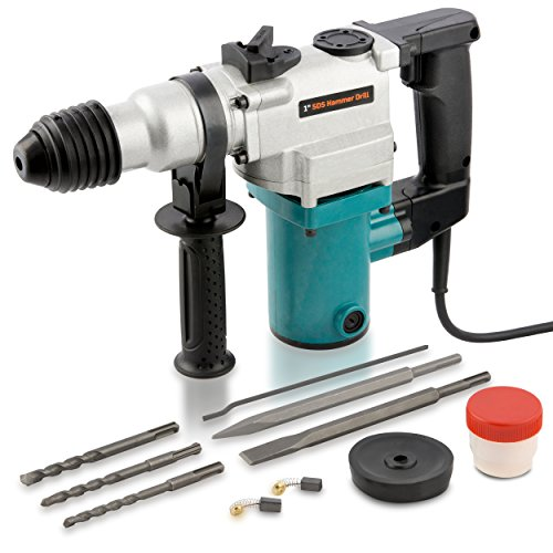 Hiltex 10504 1 inch Electric Rotary Hammer Drill, 4.7 Amp | Includes 2 Chisels, 3 Drill Bits | 900 RPM, 3150 BPM