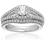 Amazon Collection Cubic Zirconia Split Shank Bridal Set in Sterling Silver Wedding Ring, Size 7