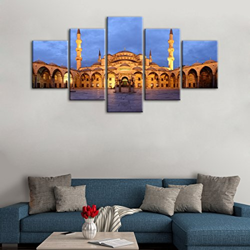 - 5 Panels Modern Ahmed Mosque Painting for Living room Home Decor Prints and Poster Sultan Istanbul Blue Mosque Pictures Wall Decoration Framed Hanging Ready to Hang (60''W x 32''H)