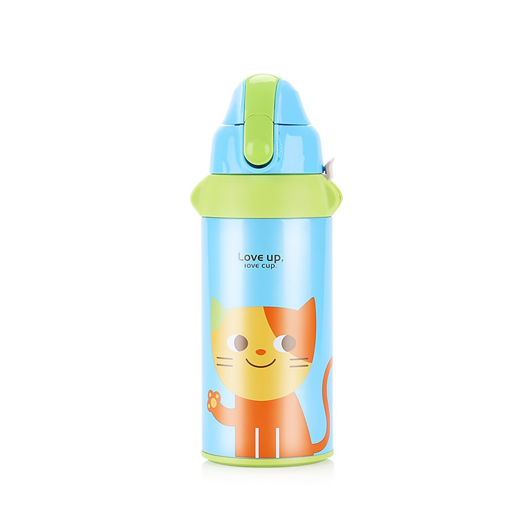 UPSTYLE Thermos Water Bottle with Straw for Kids Insulated Stainless Steel Vacuum Cup Cute Animals Tumbler Flask Travel Mug for Children 19.6oz(580ml) (2 Lid Cat)