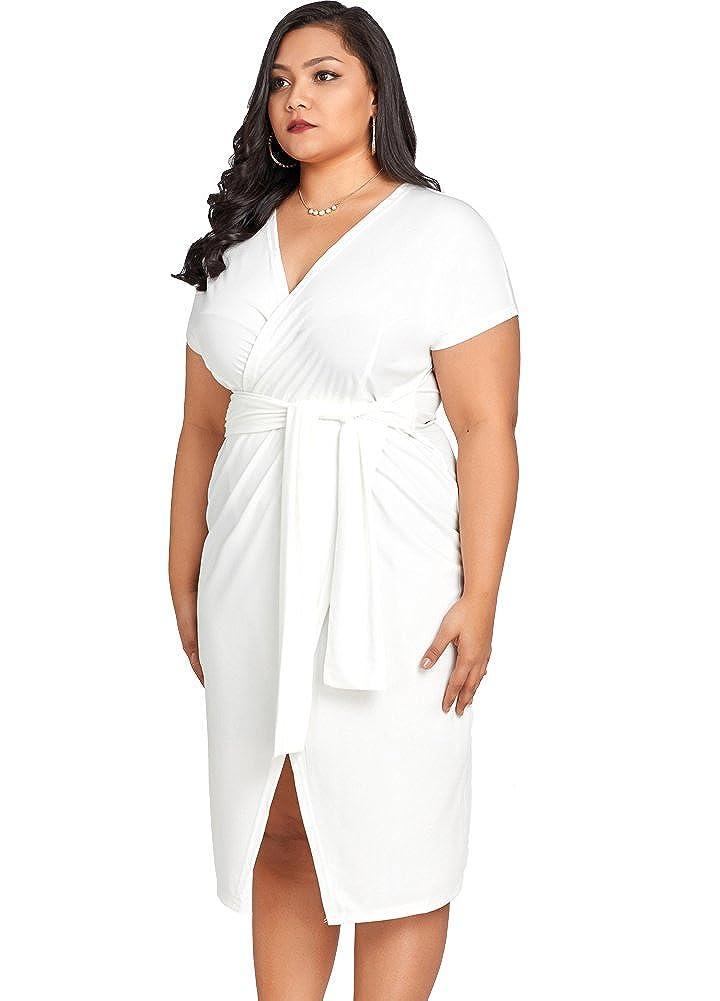 2ee62da9e99b Romacci Women Cross Over Tie Waist Dress V Neck Short Sleeve Plus Size  Party Club Midi Dress White: Amazon.co.uk: Clothing