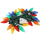 MAXINDA Commercial Grade C9 Big Led Outdoor Christmas Lights Colored Bulbs,18Ft 25 LEDs String Tree Lights Festive Mood Lighting,Steady On,2 Fuses Included,Patio Garden Xmas Halloween Holiday Decor