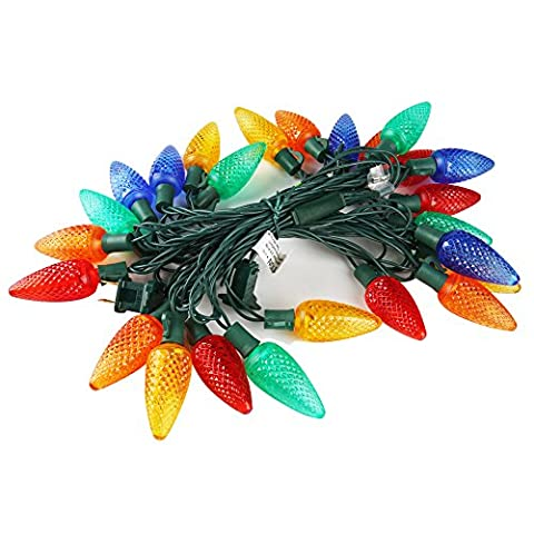 C9 Commercial Grade Outdoor String Lights,2 Year Life Span,16.7Ft 25 Leds Colored Christmas Lights UL Listed Decorative Light Strands,2 Fuses Included,Indoor Outdoor Use-MAXINDA