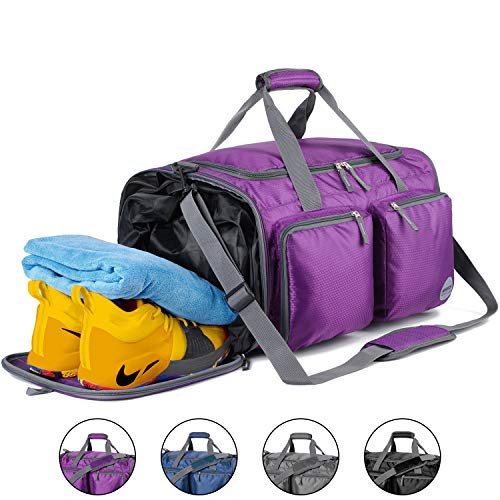 Foldable Sports Gym Bag with Wet Bag & Shoes Compartment, Travel Duffel for Men and Women (Purple) -