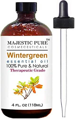 Wintergreen Essential Oil From Majestic Pure Extracted From Leaves, Pure and Natural Therapeutic Grade Wintergreen Oil, 4 fl. oz.