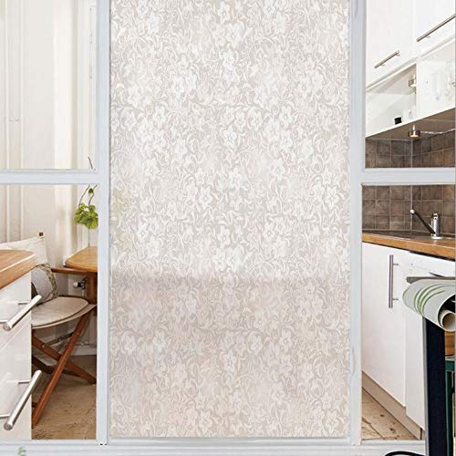 Decorative Window Film,No Glue Frosted Privacy Film,Stained Glass Door Film,Floral Pattern Spring Season Blossoms Branches Leaf Beauty Field Ornamental Design,for Home & Office,23.6In. by 47.2In Beige