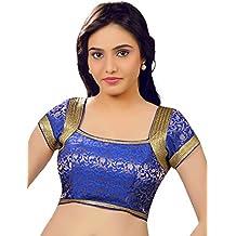 Saris and Things Brocade Royal Blue Party-wear Saree Blouse Sari Choli X-265-SL