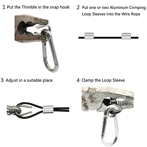 Belio String Light Hanging Kit,Stainless Steel Cable for Outdoor Lights,Globe String Light Suspension Kit Include 164 FT Wire Rope Cable Turnbuckle and Hooks by Belio (Image #4)