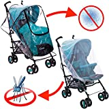 Rain Cover - Mosquito Net - Stroller Rain Cover and Baby Mosquito Net (2-Piece Set) Waterproof - Windproof Protection - Travel-Friendly - Outdoor Use - Easy to Install and Remove