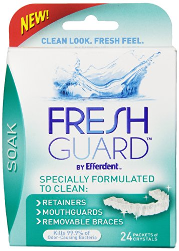 Use Fresh Guard Soak Specially Formulated CLEANER for Retainers Mouthguards and Removable Braces to clean your Invisalign Aligners