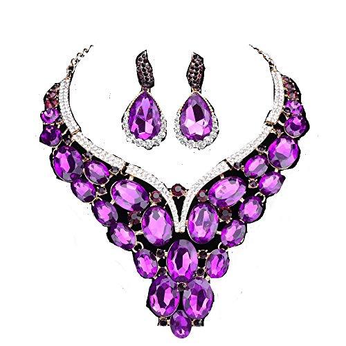 (Women Bridal Rhinestone Crystal Statement Necklace Earring Wedding Dress Jewelry Sets (Purple))