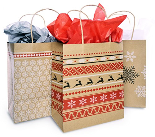 Christmas Gift Bag Set with Tissue Paper Included | Red & White Nordic Print Gift Bag | Paper Kraft Bags In 3 Assorted Holiday Designs With Matching Tissue Paper | Xmas Fair Isle Bulk Packaging (6) Cute Gift Wrapping Ideas For Christmas