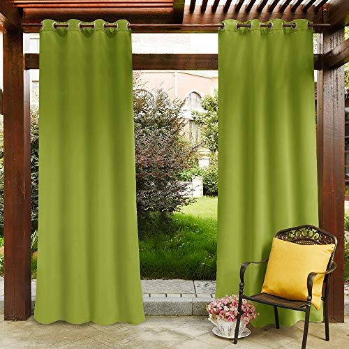 PONY DANCE Outdoor Shades for Garden - Patio Decoration Curtains Thermal Insulated Solid Grommet Light Block Curtain for Front Porch, W 52 x L 108 in, Grass Green, Set of - Outdoor Curtain Green