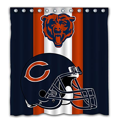 Potteroy Chicago Bears Team Simple Design Shower Curtain Waterproof Polyester Fabric 66x72 Inches