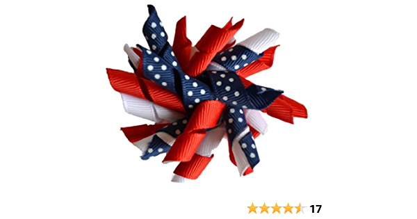 Blue Bow; Girls Fourth; Stripe; 4th; Toddler; Baby; Infant; Fine Hair; Small Dog; Yorkie; Pet Mini Twisted Bows; Fourth of July; Red White