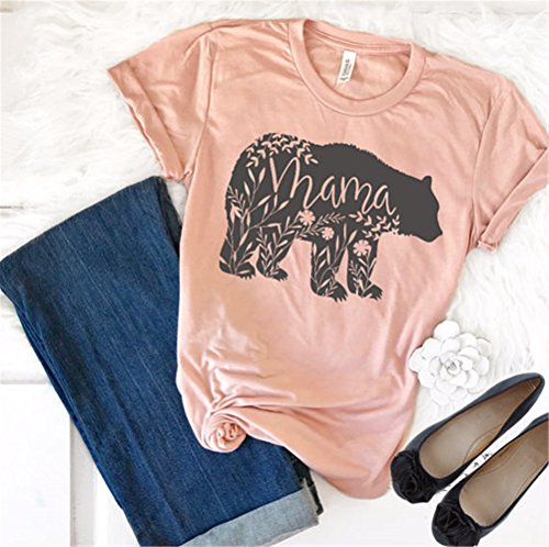 yangelo Floral Mama Bear T Shirt Printer Mother's Day Gifts For Mom Short Sleeve Cotton Shirts (L, Pink)