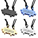 Sinobear Custom Personalized Puzzle Necklaces for Couples, Stainless Steel Pendant Necklace (1 pair)