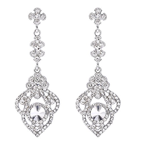 BriLove Victorian Style Dangle Earrings for Women Crystal Art Deco Gatsby Inspired Floral Chandelier Earrings Clear Silver-Tone
