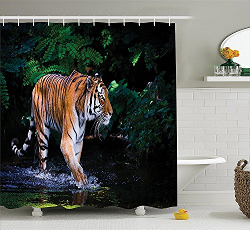 [Safari Decor Shower Curtain Set Tiger In Water Stream Hunting Danger Trees Tropical Pond Hiding Captive Bathroom] (Danger Mouse Halloween Costume)