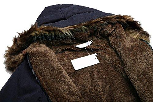 Con Capucha Abrigo Azul Marino Lana Lonlier Para Largo Invierno Parka Casual Mujer Y60wFaWp