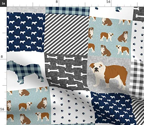 English Fabric - Spoonflower English Bulldog Fabric - English Bulldog Bulldogs Dogs Nursery Quilt Pet Portrait Gift by Petfriendly Printed on Petal Signature Cotton Fabric by The Yard