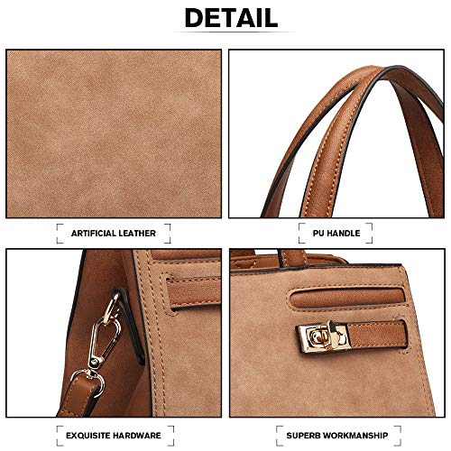 Ladies Style Women Matt Handbag Shoulder Bag Leather Brown Tote SFS6wq4