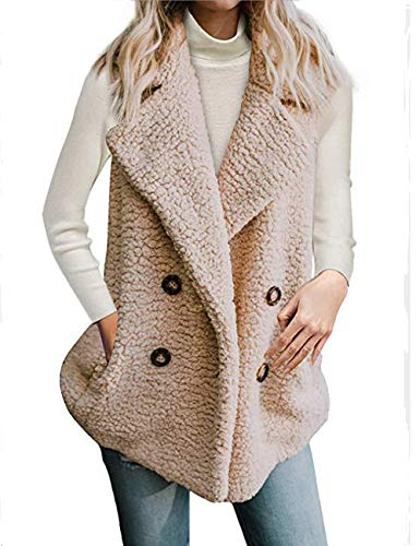 Halife Women's Coat Warm Lapel Fleece Fuzzy Faux Shearling Winter Oversized Outwear Jackets Vest Khaki,XL (Fur Jacket Front Button)