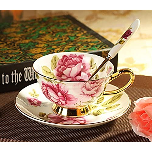 Zuwit Gift Boxed Fine Bone China Cup \u0026 Saucer Set with Gold Trim Fine Dining and Table Décor (Rose Pattern) & China and Porcelain Fine Dining: Amazon.com