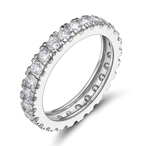 EAMTI 925 Sterling Silver Cubic Zirconia Eternity Rings Engagement Wedding Band (5)
