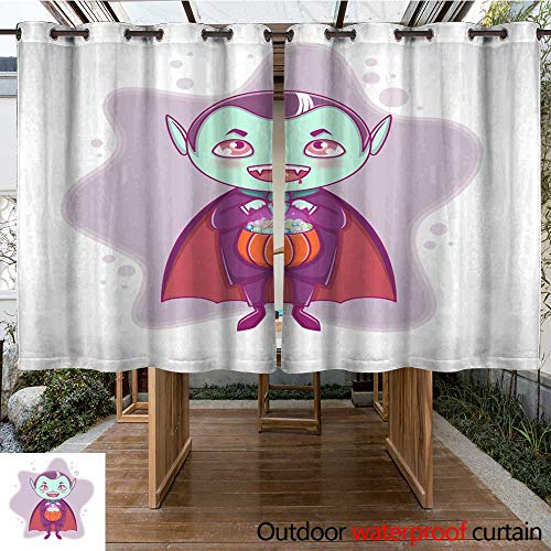 RenteriaDecor Outdoor Curtains for Patio Sheer Halloween Little Vampire Dracula Boy Kid with Smiling face in Halloween Costume with Pumpkin in his Hands W108 x L72]()