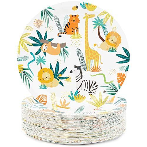 Safari Paper Plates (Blue Panda Jungle Safari Animals Party Paper Plates (9 in, 80)