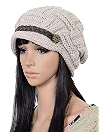 Upspirit Fashion Women Knit Snow Hat Winter Snowboarding Beanie Crochet Cap Hats-Beige