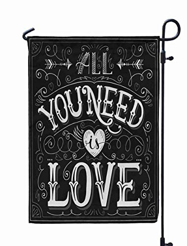 Shorping Easter Garden Flag, 12x18Inch Valentine Vintage Card You Need 39All is Love39 for Holiday and Seasonal Double-Sided Printing Yards Flags -