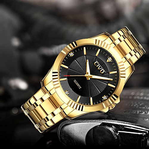 CIVO-Mens-Golden-Watches-Luxury-Business-Waterproof-Wrist-Watch-for-Men-Elegant-Casual-Dress-Simple-Design-Analogue-Quartz-Watches-with-Stainless-Steel-Band-Black-Dial