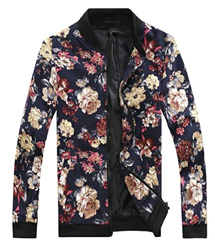 Jacket Baseball Bomber Casual 5 Print Floral Men's Full security Zip x0Pwq8RqY