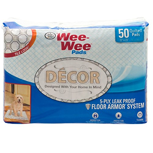 Four Paws Wee-Wee Tile Décor Dog Housebreaking Pads, 50 Ct