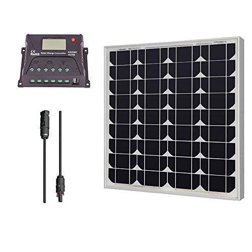 Renogy 50 Watt 12 Volt Monocrystalline Solar Bundle Kit with 10A PWM...