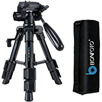 BONFOTO Portable Tabletop Mini Tripod with 1/4 Mount 3-way Pan Head ,Quick Release Plate and Carring Bag for Canon Nikon Sony DSLR Camera (black)