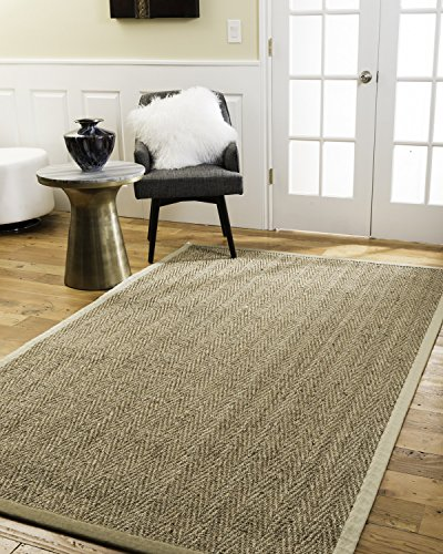 NaturalAreaRugs Four Seasons Area Rug Natural Seagrass Hand-Crafted Sage Wide Canvas Border, 6' x 9'