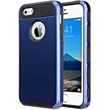 iPhone 5S Case, iPhone 5 Case, iPhone SE Case, ULAK Slim Dual Layer Protection Case Shock Absorbing Hard Rugged Ultra Protective Back Rubber Cover with Impact Protection(Navy Blue+Black)